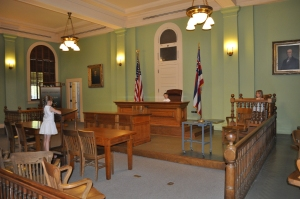 Isabella, Aurelia, and Lucas in the original republic and later Hawaii State Supreme courtroom